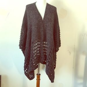 Sweaters - Stitched sleeve open front cape